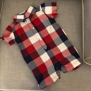 3-6mo Old Navy Red White & Blue Button up Romper